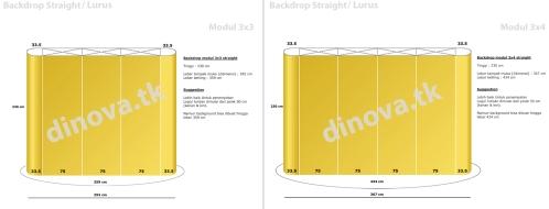 Ukuran Backdrop Portable Straight_Lurus 3 x 3 & Straight_Lurus modul 3 x 4